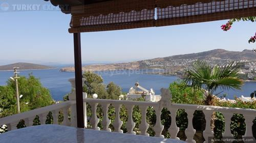 Bodrum villa with frontal sea views, garden and garage