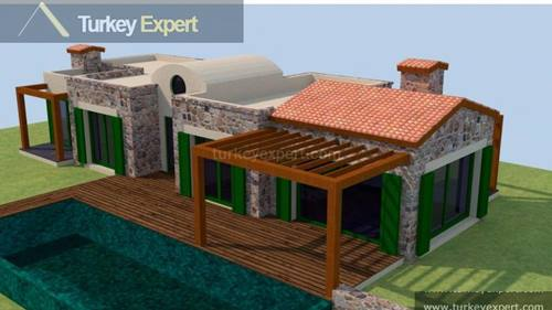 Small project of 4 private stones houses for sale in Bodrum