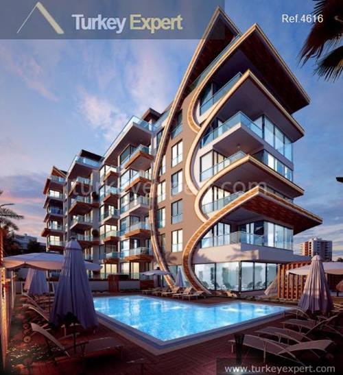 Modern design apartments in Alanya right on the beach front