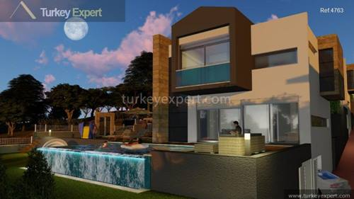 Detached sea view villas with pool and garage in Kusadasi Davutlar