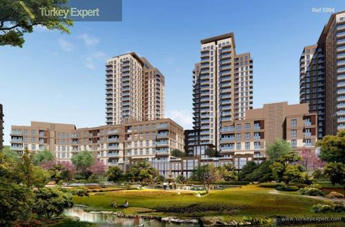 Flats of all sizes for sale in the upcoming Bahcesehir area, close to the new airport