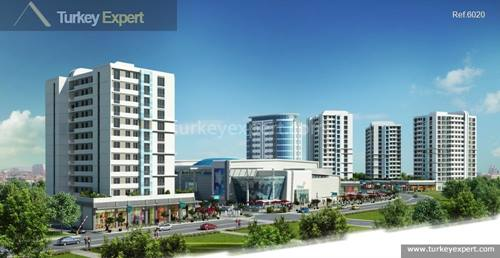 Modern apartments for sale in a project near the Istanbul airport and a shopping mall