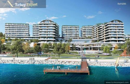 Waterfront penthouses for sale in Istanbul Buyukcekmece with open sea views