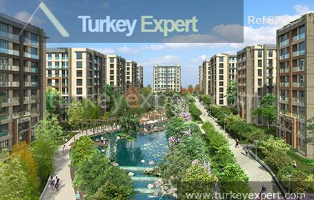 Apartments for sale in Beylikduzu surrounded by greenery